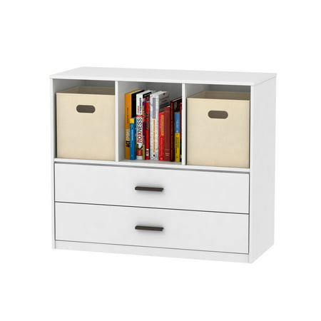 Mainstays 2-Drawer Dresser with 3 Open Cube Storage, Multiple Finishes ()