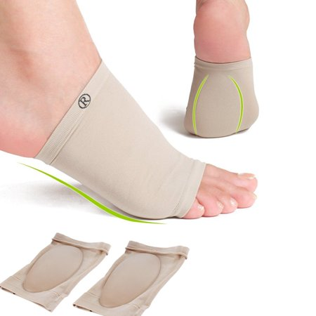 TMISHION Unique Useful Silicone Foot Arch Support Gel Heel Cushion Insole Pain Relief Flat (Pain In Heels Of Feet At Night)