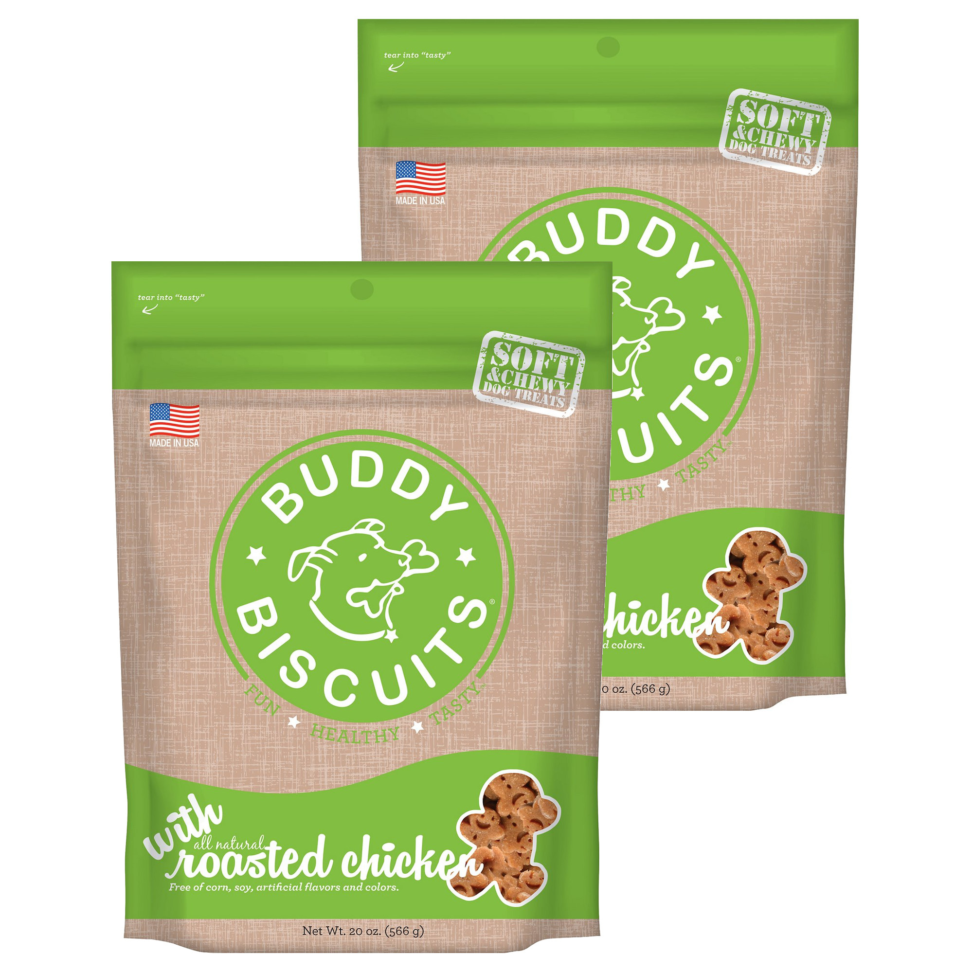 Cloud Star Buddy Biscuits 20 oz Soft & Chewy Dog Treats - Roasted Chicken 2 Pack