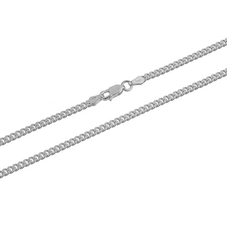 Cuban Link Chain Necklace Sterling Silver Curb 3mm Nickel Free 20 inch