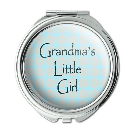 - Grandma's Little Girl Teal with Flowers Compact Purse Mirror