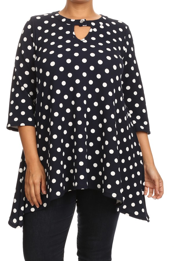 Women's PLUS trendy style, 3/4 sleeves polka dot print top