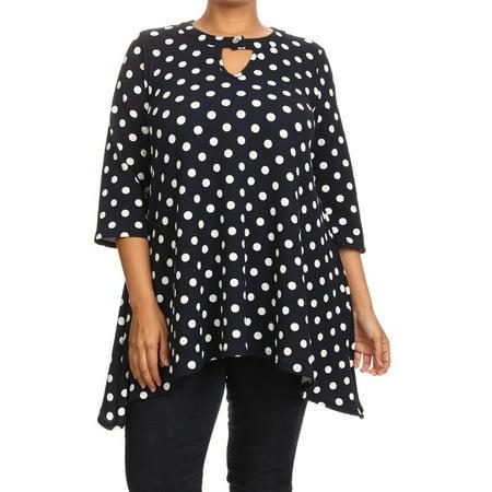 6182c0deb74 NMC - Women's PLUS trendy style, 3/4 sleeves polka dot print top -  Walmart.com