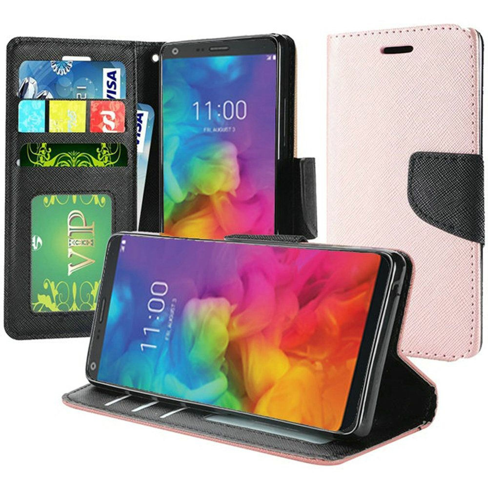 LG Q7 Plus Case, by Insten Folio Flip Leather Case Cover Lanyard w/Stand/[Card Slot] Wallet Flap Pouch/Photo Display For LG Q7 Plus