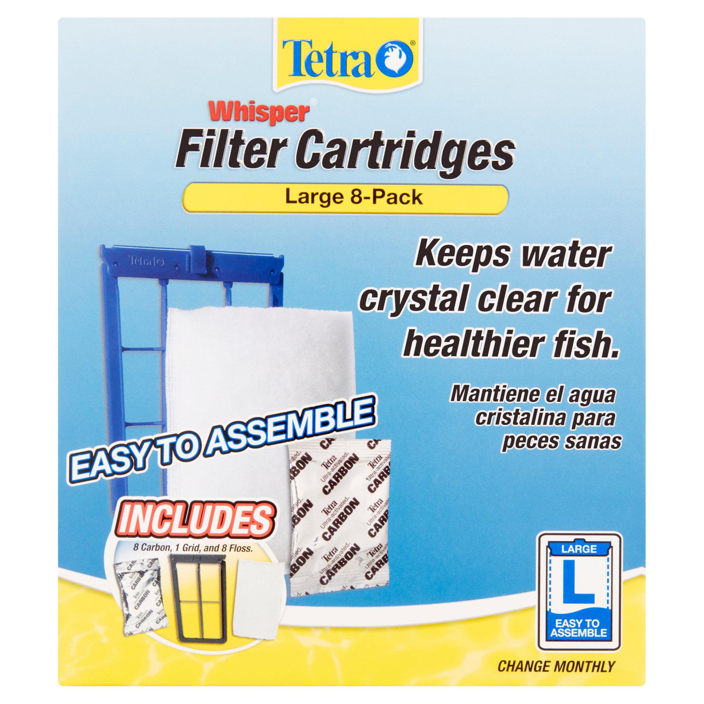 Tetra Whisper Replacement Carbon Aquarium Filter Cartridges, Large, 8ct