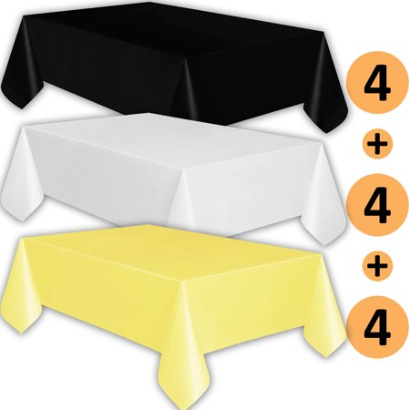 12 Plastic Tablecloths Black White Lemon Yellow