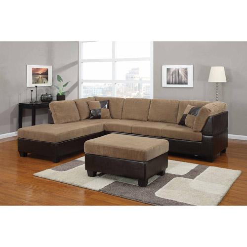Acme Connell Collection Corduroy and Faux Leather Sectional Sofa, Light Brown Espresso, Box 1 of 2 by ACME UNITED CORPORATION