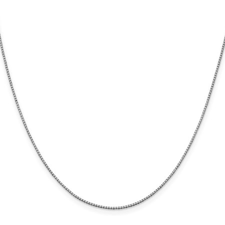 "10K White Gold 1mm Box Necklace Chain -18"" (18in x 1mm)"