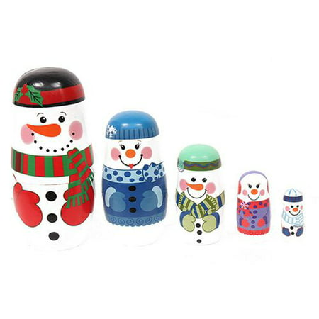 AkoaDa 5PCS Wooden Snowman Matryoshka Russian Dolls Nesting Babushka Christmas Gifts Kids Toy Xmas Homen Decor ()
