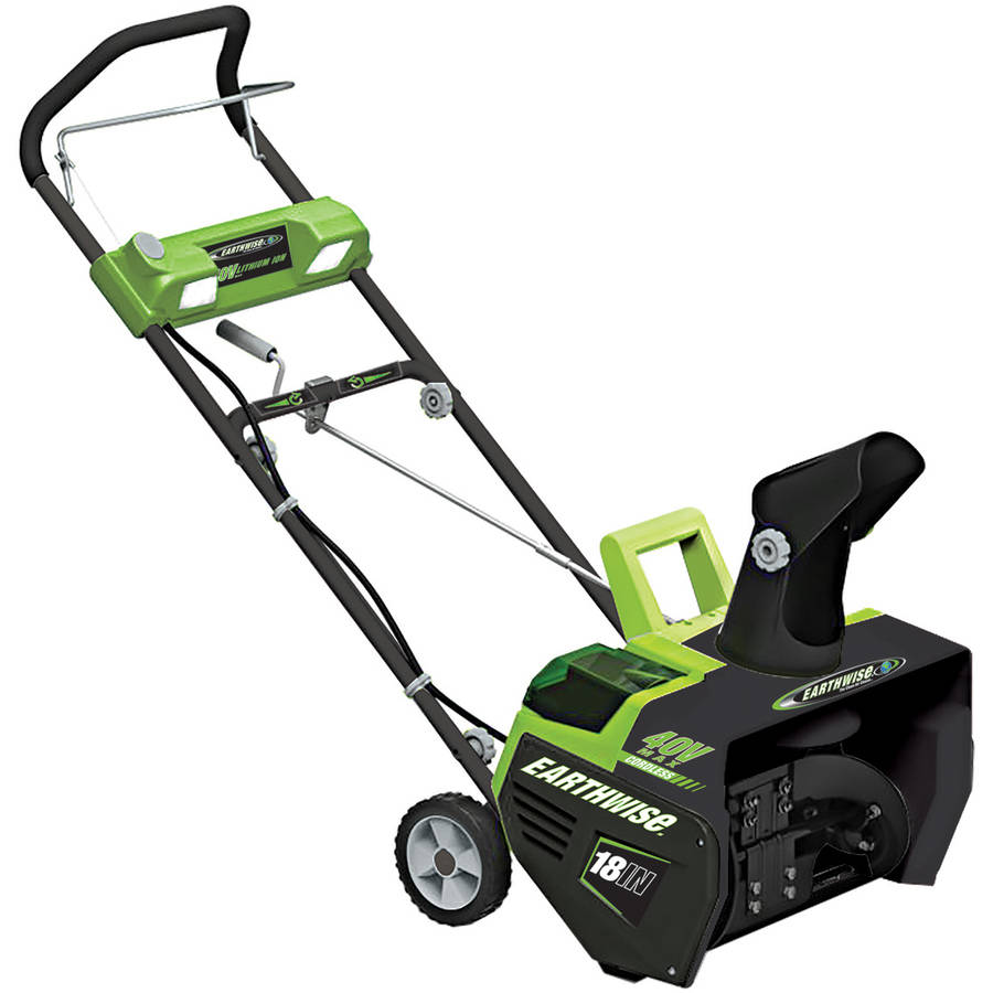 "Earthwise SN74018 40-Volt Lithium Ion Cordless Brushless Motor 18"" Snow Thrower with LED Lights"