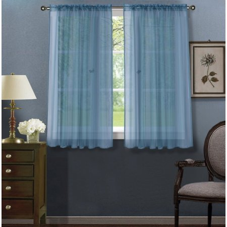2pc Slate Blue Solid Sheer Voile Window Curtain Set, Two (2) Rod Pocket Panels 55