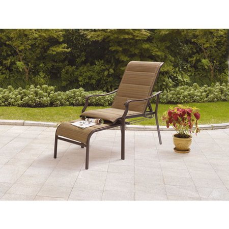 Mainstays Padded Sling Chair with Pull-Out Ottoman, Brown/Tan ...
