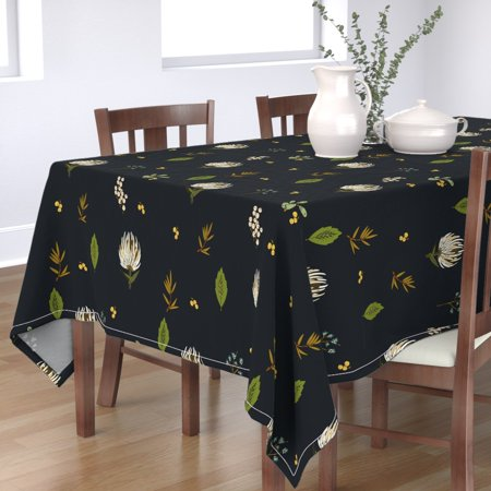 Tablecloth Botanical Botany Floral Flower Protea Leaf Cotton Sateen