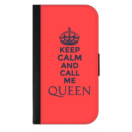 Keep Calm and Call Me Queen in Pink - Wallet Style Cell Phone Case with 2 Card Slots and a Flip Cover Compatible with the Apple iPhone 7 Plus and 8 Plus
