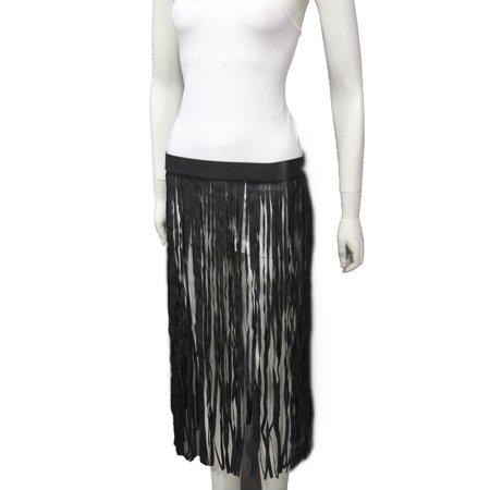 New Women Black Fashion Belt Hip Extra Long Faux Leather Dance Skirt Fringes S M Fringe Hip Belt