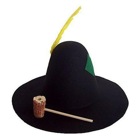 Paper Pilgrim Hat (Hillbilly Farmer Pilgrim Black Felt Hat Scarecrow Hobo Hat Feather Pipe)