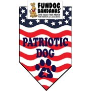 Fun Dog Bandana - Patriotic Dog - One Size Fits Most for Med to Lg Dogs, red, white and blue pet scarf