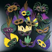 Mardi Gras Feather Mask Assortment - Party Wear - 12 Pieces