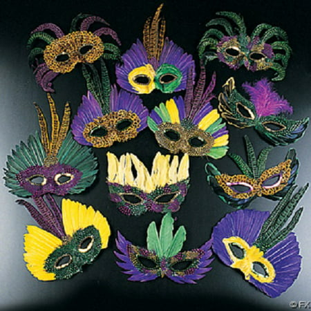 12 Feather Mardi Gras Masks Costume Party Masquarade - Elaborate Mardi Gras Masks