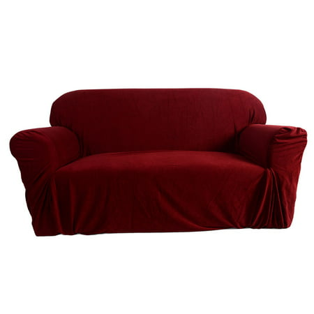 ktaxon stretch slipcover 3 seat sofa cover for 3 cushion couch set wine red. Black Bedroom Furniture Sets. Home Design Ideas