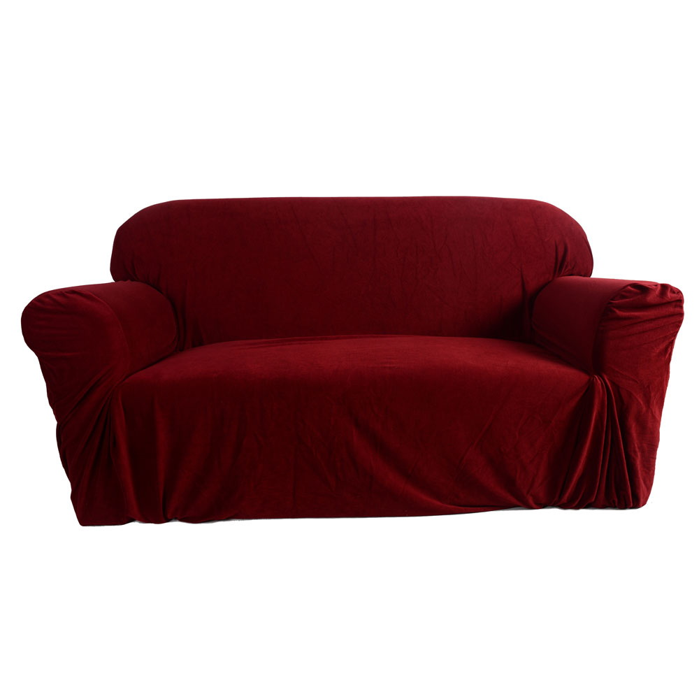 Ktaxon Stretch Slipcover 3 Seat Sofa Cover For 3 Cushion Couch Set Wine Red