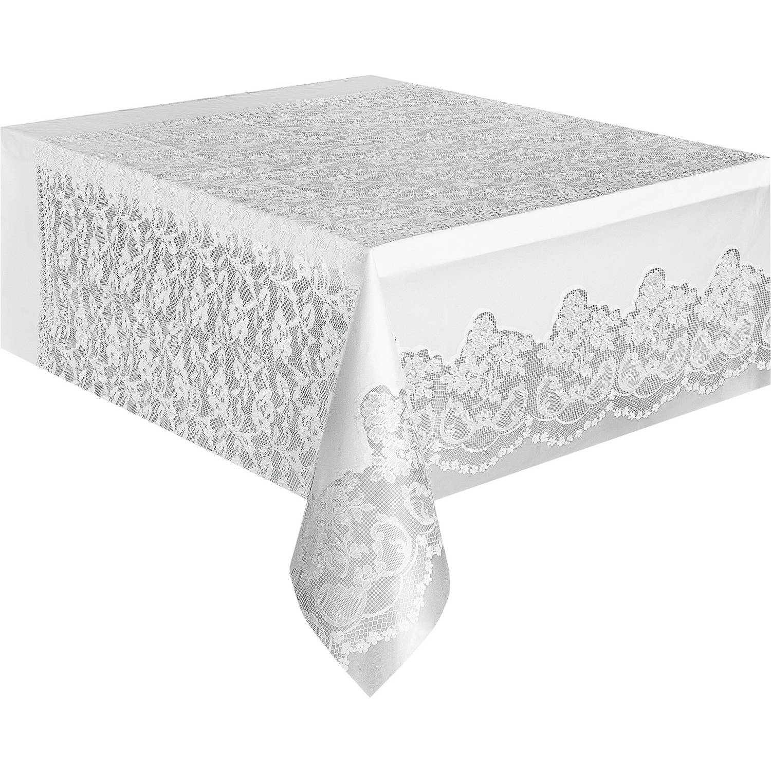 "Plastic White Lace Table Cover, 108"" x 54"""