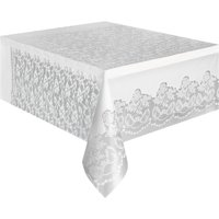 White Lace Print Plastic Party Tablecloth, 108 x 54in