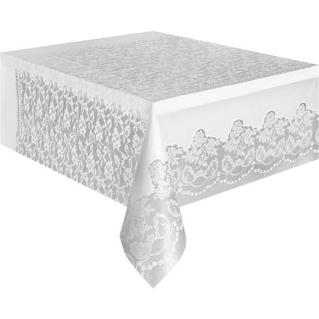 "(3 Pack) Plastic White Lace Table Cover, 108"" x 54"""
