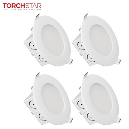 4 Inch Downlight - TORCHSTAR 4 PACK 4 inch Slim Recessed Ceiling Light, 9W (65W Equivalent), Dimmable Airtight Downlight with Junction Box, UL & Energy Star Certified, 650lm, 3000K Warm White