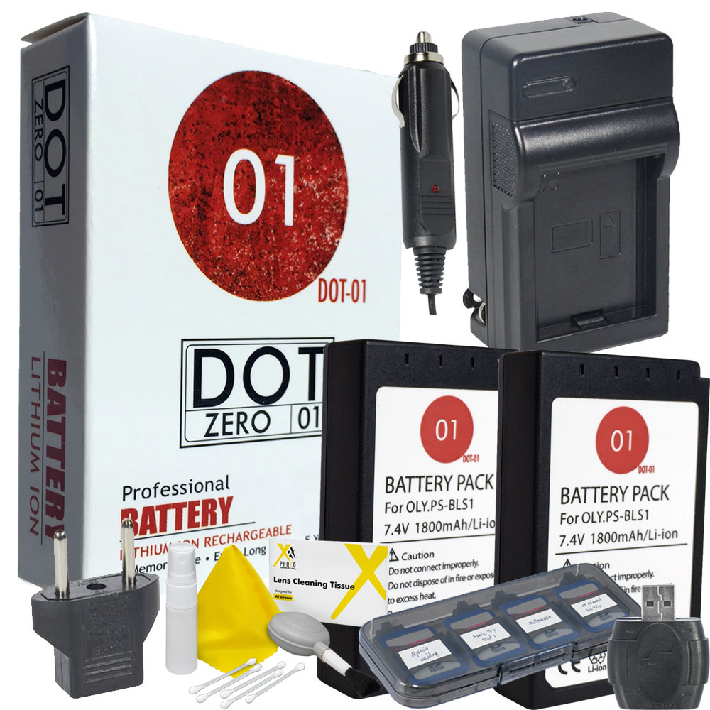2x DOT-01 Brand 1800 mAh Replacement Olympus BLS-1 Batteries and Charger for Olympus E-420 Digital Camera and Olympus BLS1 Accessory Bundle