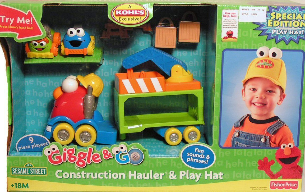 Sesame Street Elmo Giggle Construction Hauler & Hat Set by Sesame Street