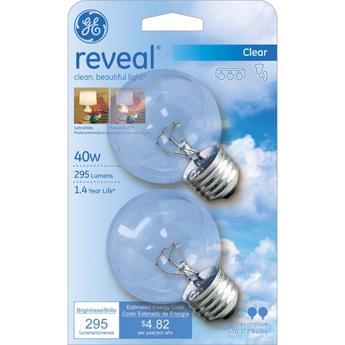 GE Reveal 40 watt Clear G16.5 Incandescent Globe, 2 Pack