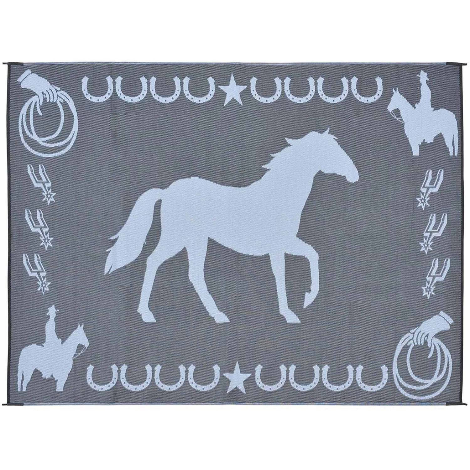 Stylish Camping Reversible Lucky Horse Patio Mat