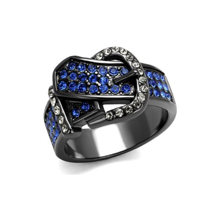 (13.5 mm Wide Belt Buckle Band Brilliant Designer Ring Stainless Steel)
