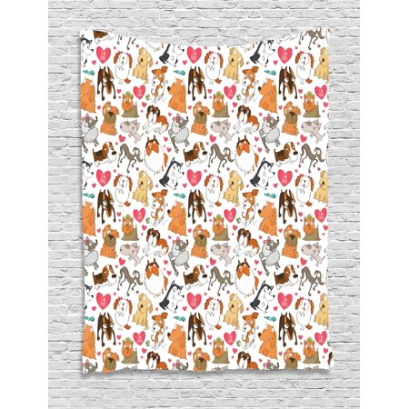 Dog Lover Tapestry, Cartoon Canines Bullterrier Doberman Husky Spaniel Love Theme Funny Characters, Wall Hanging for Bedroom Living Room Dorm Decor, 60W X 80L Inches, Multicolor, by