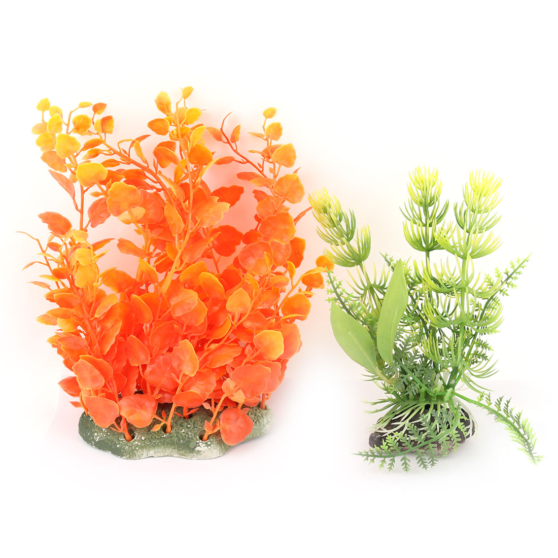 Aquarium Plastic Manmade Landscaping Underwater Water Grass Plant Decor 2 in 1