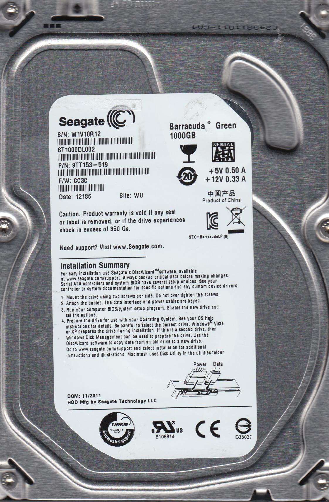 ST1000DL002, W1V, WU, PN 9TT153-519, FW CC3C, Seagate 1TB SATA 3.5 Hard Drive by Seagate