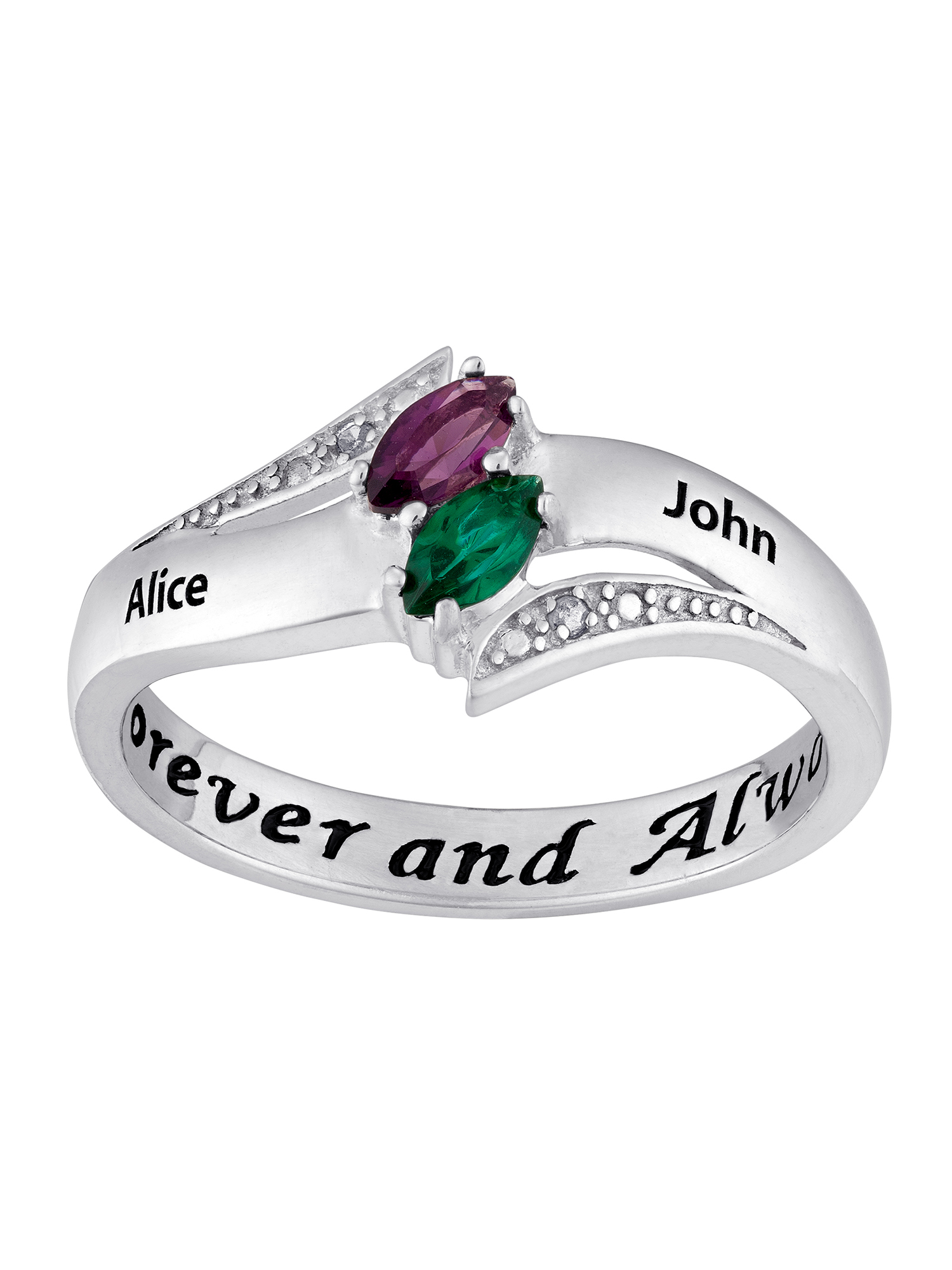 4849edda8c Couple's Personalized Promise Ring in Sterling Silver with Diamond Accents  - Walmart.com
