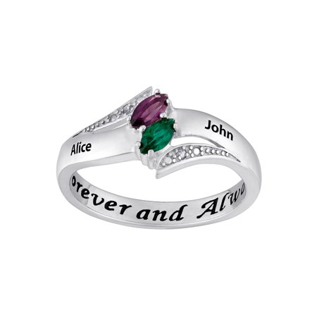 3ac93e3395 Couple's Personalized Promise Ring in Sterling Silver with Diamond Accents  - Walmart.com