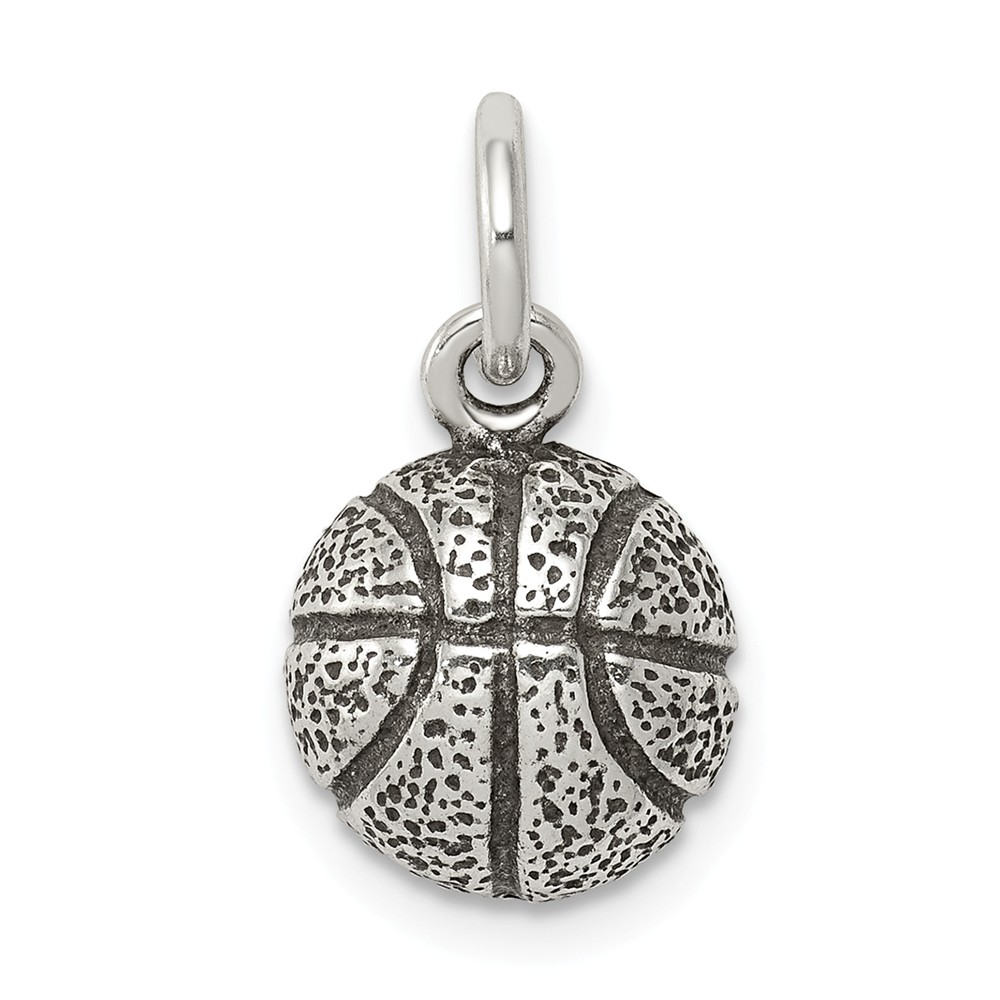 Sterling Silver Antiqued Basketball Charm (0.5in long x 0.4in wide)