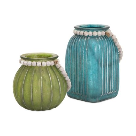 Set Of 2 Turquoise Blue And Tropical Green Glass Jar Vases With