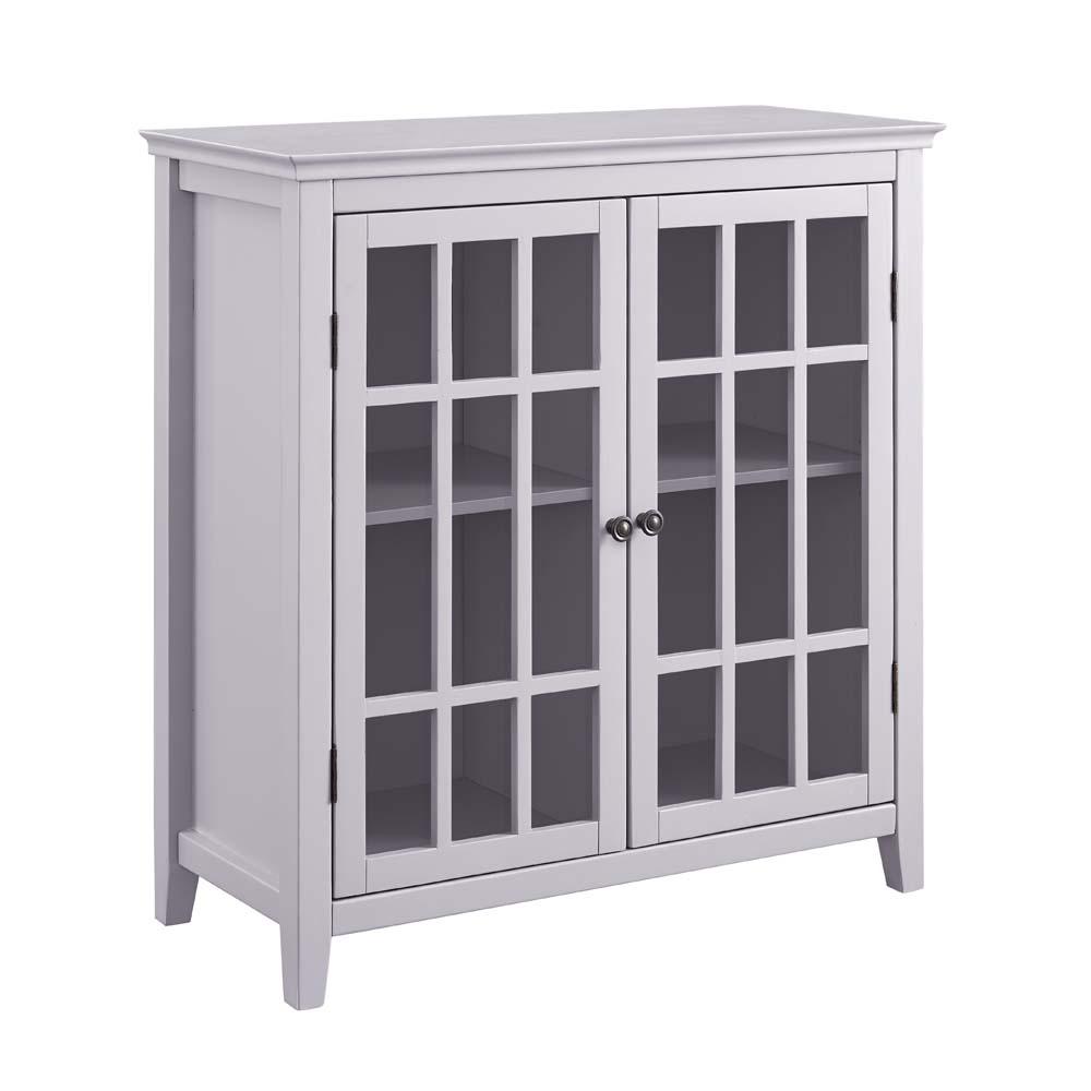Linon Leslie Double Door Cabinet, Gray, Glass Front Doors