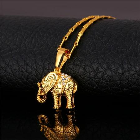 Elephant Jewelry (Lucky Jewelry Gold Plated Thailand Elephant Necklace Trendy Rhinestone Crystal Animal Pendant Necklace Women Gift / Pendant Size:2.4 cm(0.9inch) )