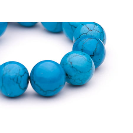 - Round - Shaped Man Made Turquoise Beads Semi Precious Gemstones Size: 16x16mm Crystal Energy Stone Healing Power for Jewelry Making