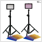 """2x 160 LED Digital Photo Video Compact Dimmable Lighting Panel Kit with Color Gels, 28"""" Portable Light Stand by Loadstone Studio WMLS0028"""