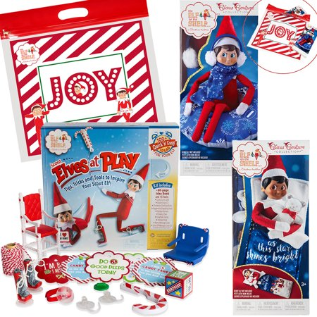 The Elf on the Shelf Claus Couture All New 2018 Collection Slumber Party Accessories Set with Scout Elves at play set and Exclusive Joy Travel Bag - Elf On The Shelf Adult