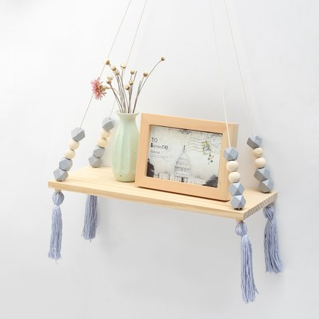 Kids Room Decor Wall Hanging Display Shelf Wood Rope Swing Shelves Sundries Rack Bedroom Home Wooden Decorations