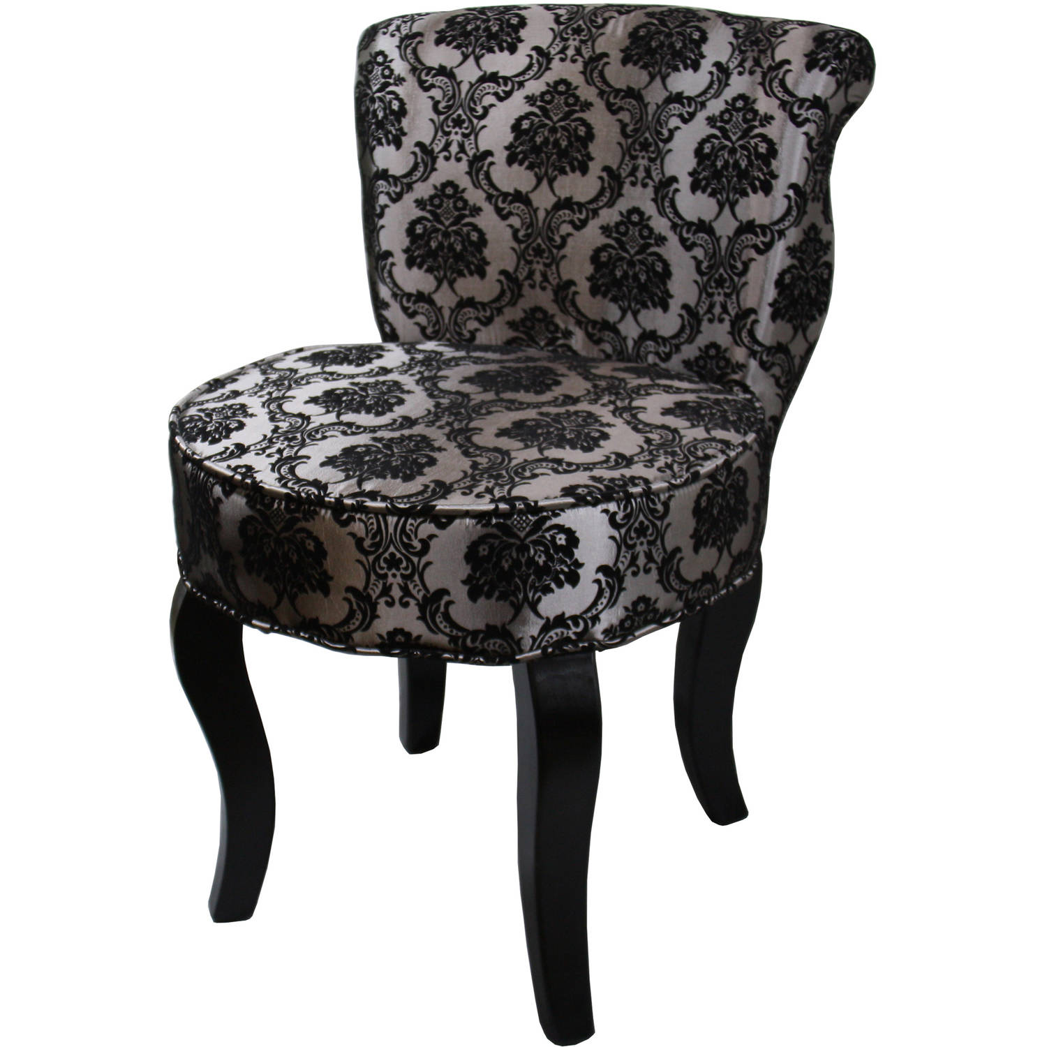"31"" French Black and Grey Damask Accent Chair"