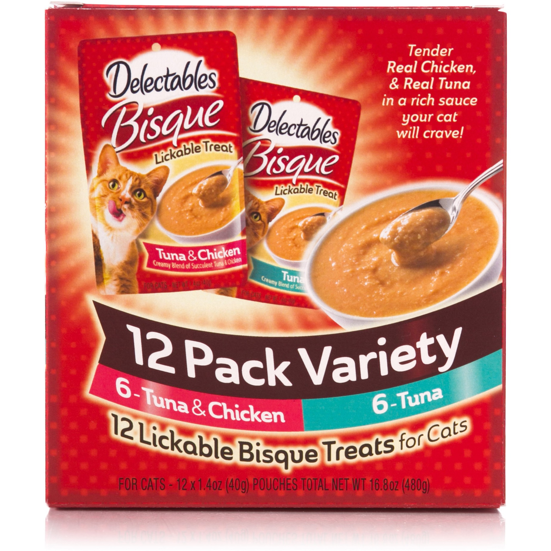 Delectables Lickable Cat Treat Bisque Variety Pack (12 Count) by Hartz Mountain Corp.