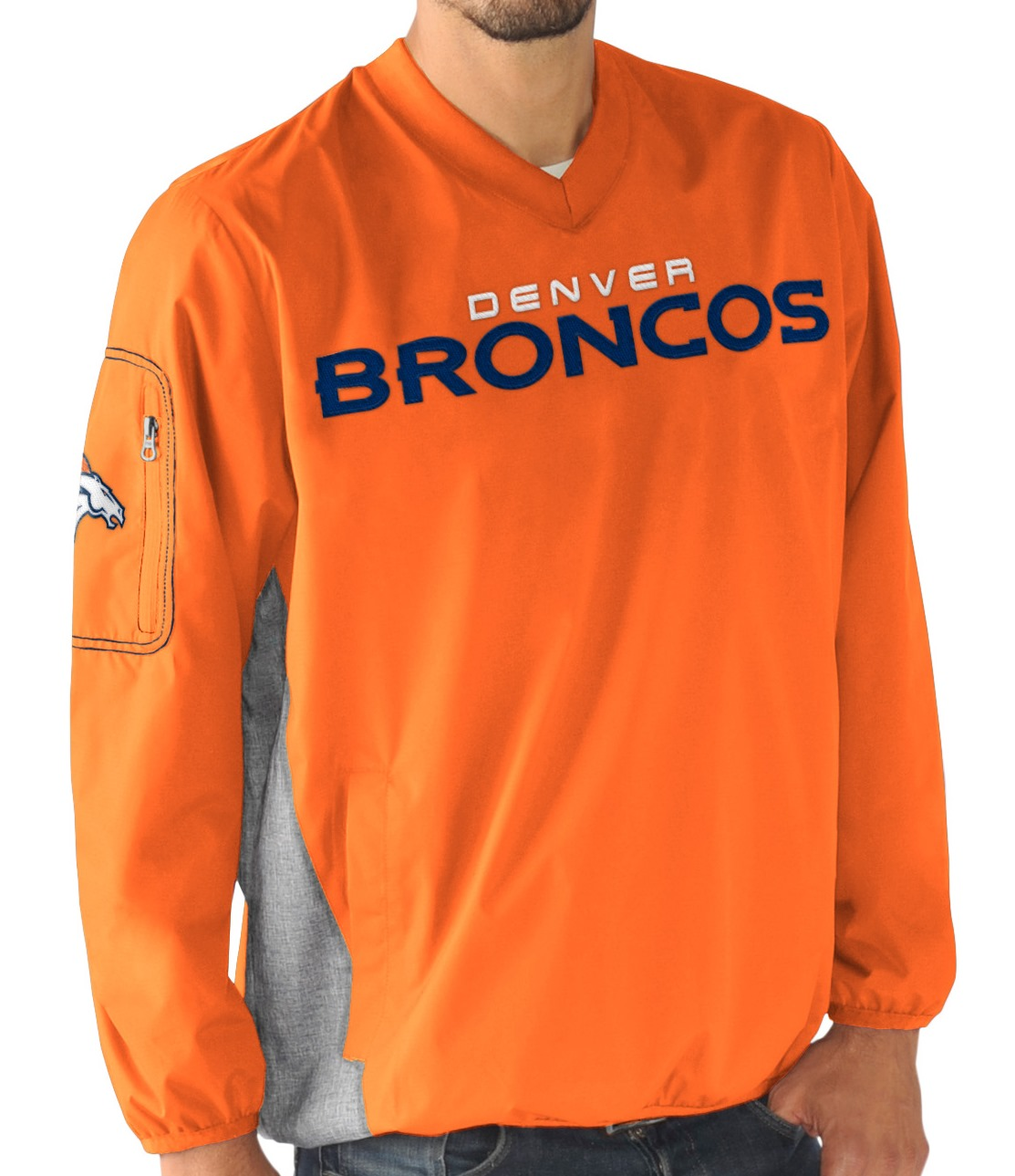 """Denver Broncos NFL G-III """"Gridiron"""" Men's Pullover Embroidered Jacket by G-III Sports"""